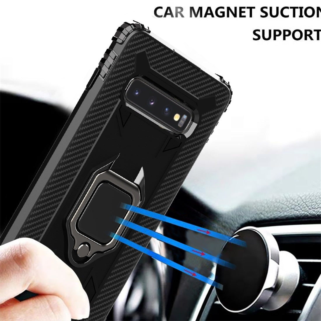 For Galaxy S10+ Carbon Fiber Protective Case with 360 Degree Rotating Ring Holder(Black)