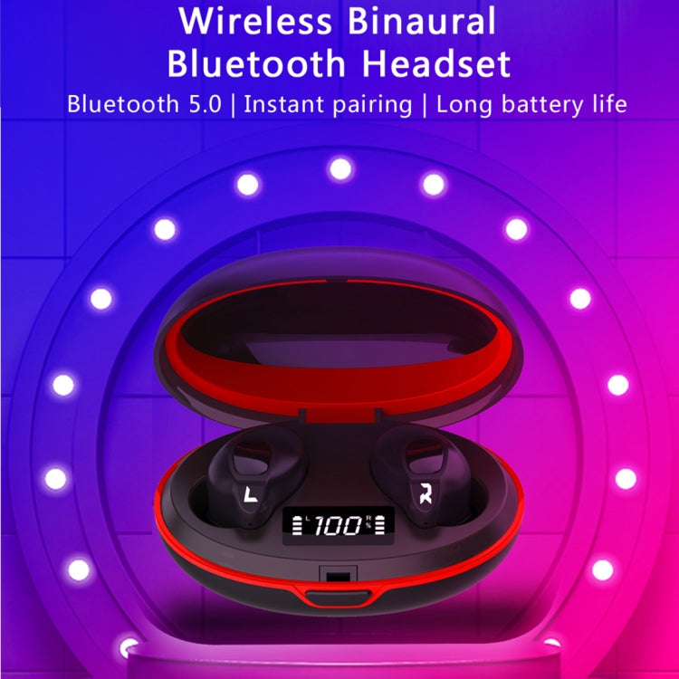 HAMTOD A1 TWS IPX4 Waterproof Bluetooth 5.0 Smart Bluetooth Earphone with Digital Display & Charging Box, Support Siri & HD Call(Black)
