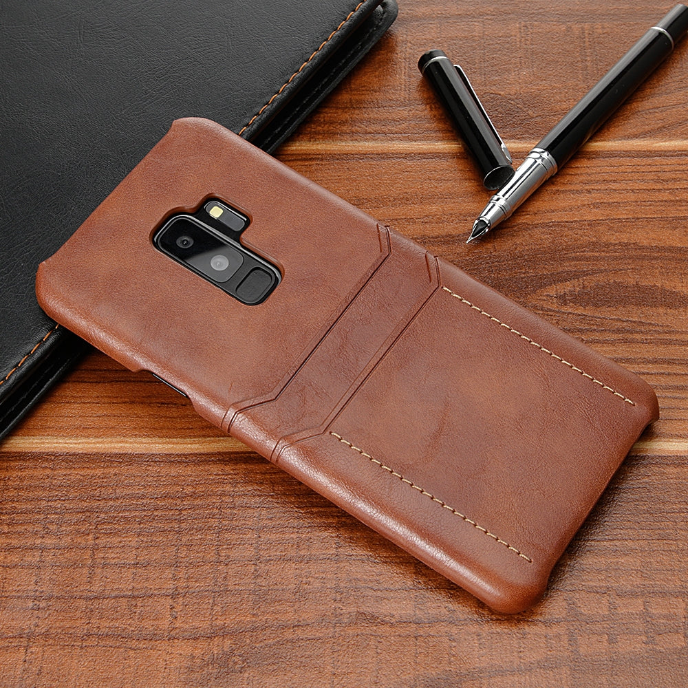 For Galaxy S9+ Calf Texture PU + PC Protective Case with Card Slots(Brown)