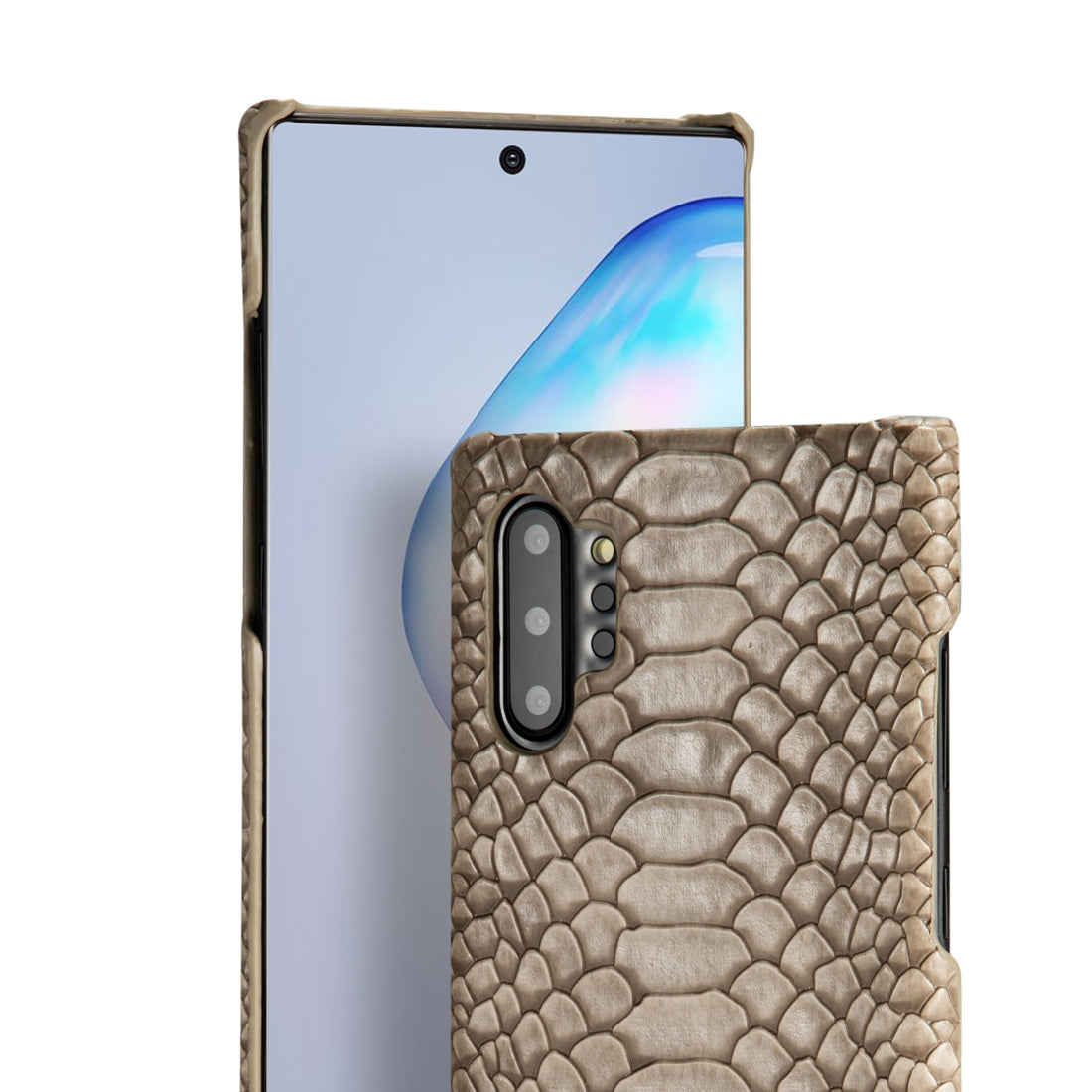 For Galaxy Note10 Snakeskin Texture PC + PU Case(Grey)