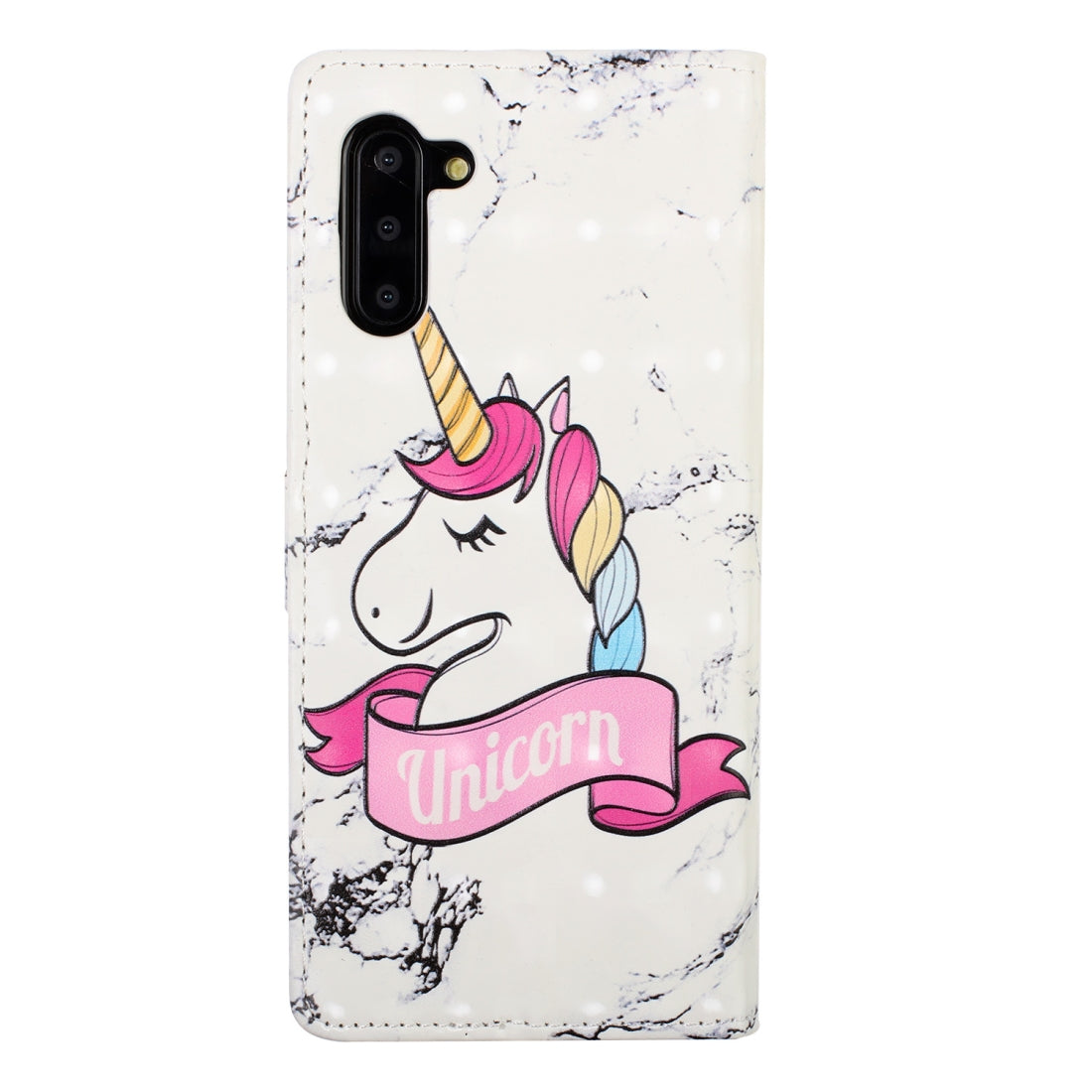 For Galaxy Note 10 Embossed Painted Pattern Left Right Leather case with Stand & Card Slot & Wallet & Photo Frame(Marble Unicorn)