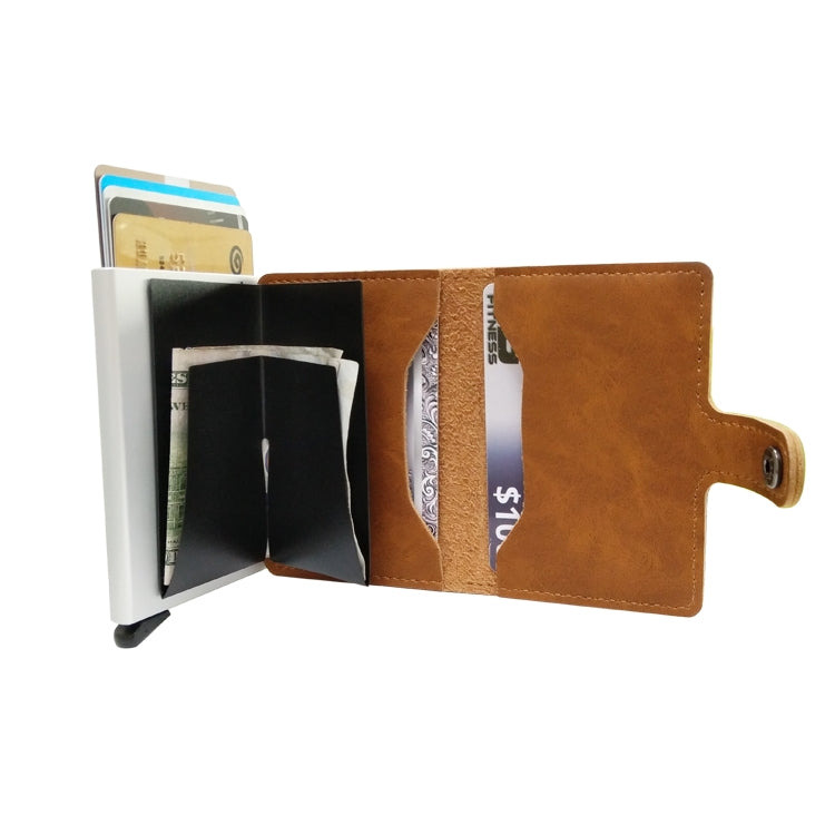 For 6.5 inch and Below Mobile Phone Universal multi-function Card Slot & Wallet & Holder & Photo Frame(Coffee)