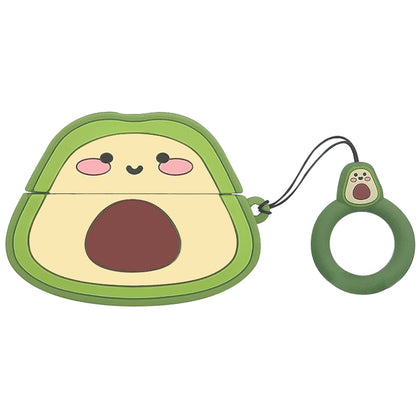 For AirPods Pro Fruit Shaped Silicone Earphone Protective Case with Hanging Ring(Avocado)