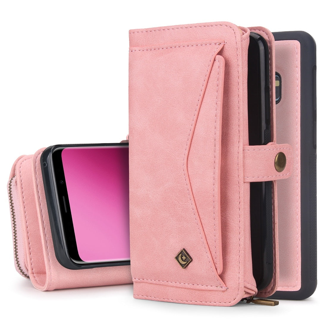 For Galaxy S9+ POLA Multi-function TPU + PC Magnetic Horizontal Flip Leather Case with Holder & Card Slots & Wallet & Photo Frame(Pink)