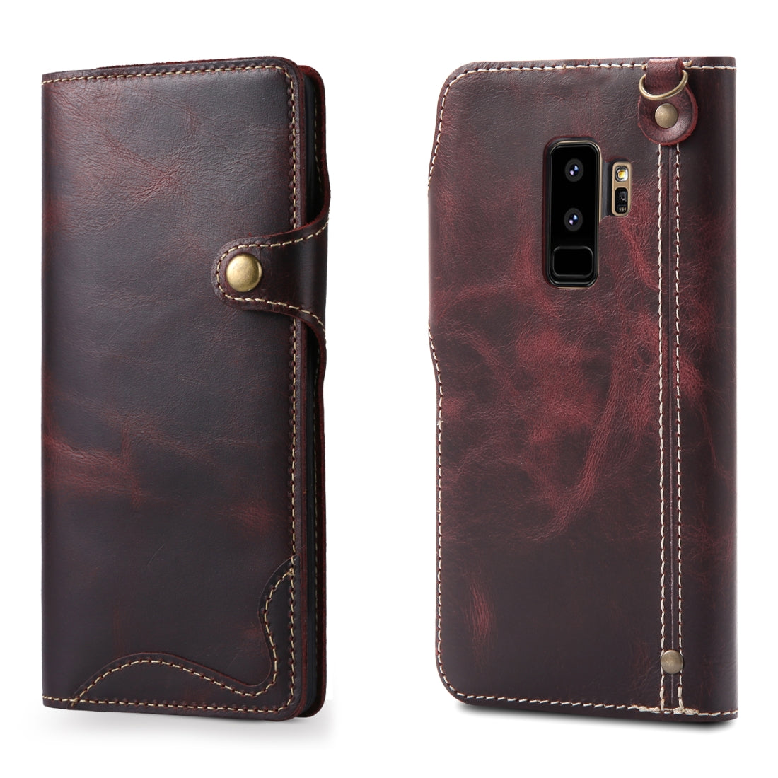 For Galaxy S9 Plus Denior Oil Wax Cowhide Magnetic Button Horizontal Flip Leather Case with Card Slots & Wallet(Dark Red)