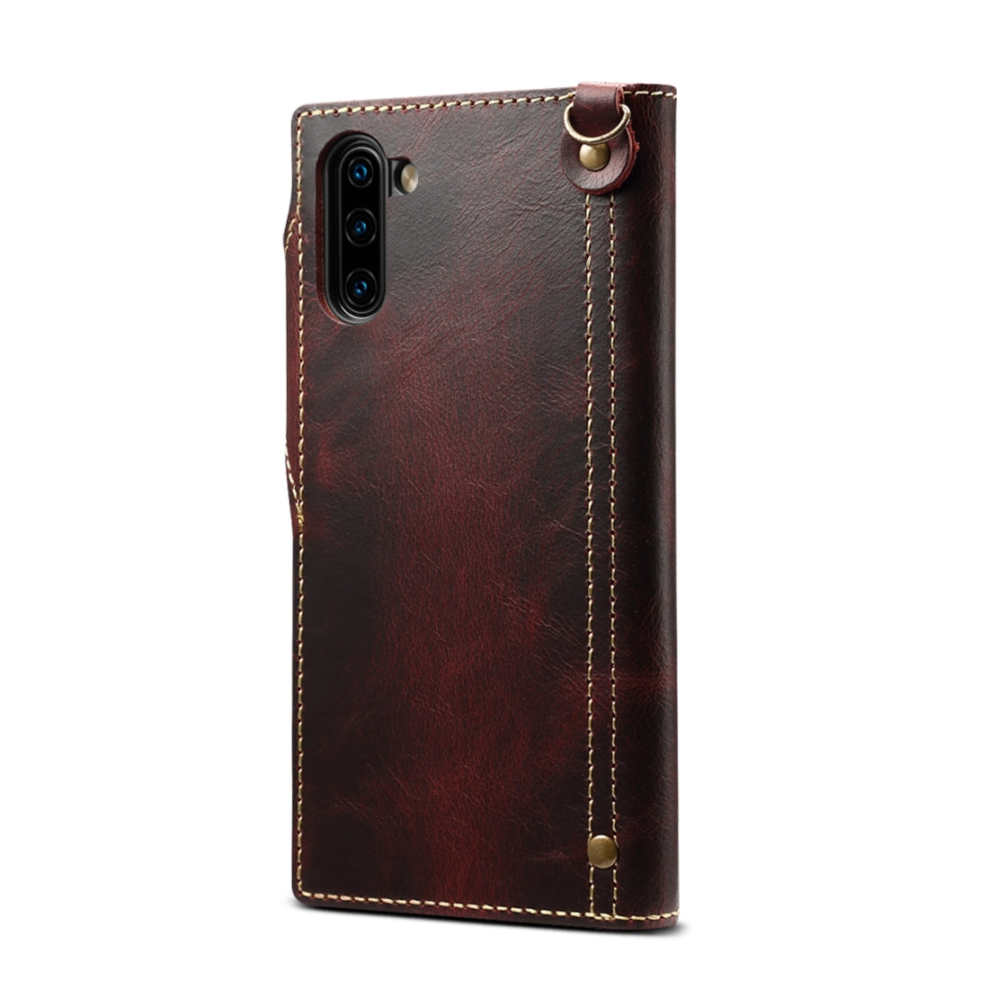For Galaxy Note 10 Denior Oil Wax Cowhide Magnetic Button Horizontal Flip Leather Case with Card Slots & Wallet(Dark Red)