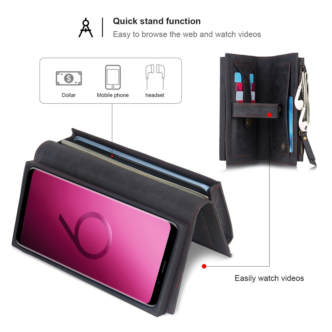 For Galaxy S9+ POLA Multi-function Fashion Magnetic Horizontal Flip Leather Case with Card Slots & Wallet & Photo Frame & Holder(Black)
