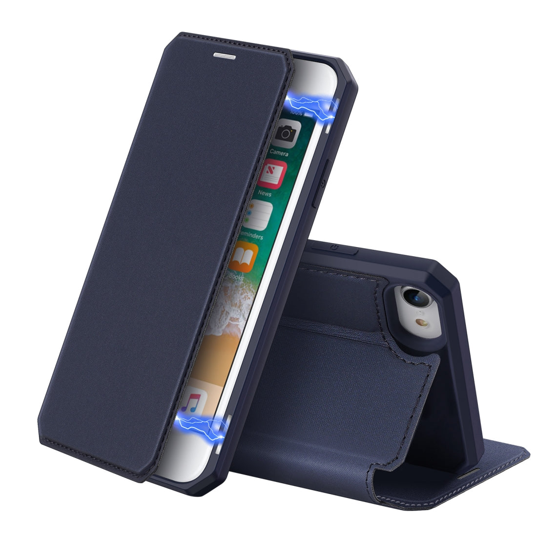 For iPhone 8 & 7 DUX DUCIS Skin X Series PU + TPU Horizontal Flip Leather Case with Holder & Card Slots(Blue)