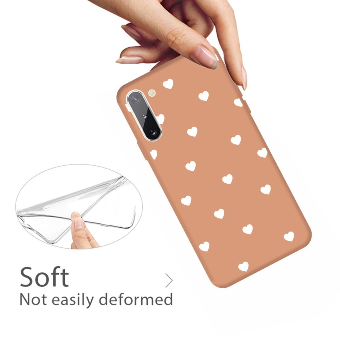 For Galaxy Note10 Multi Love Heart Pattern Frosted TPU Protective Case(Coral Orange)