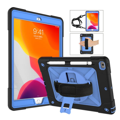 For iPad 10.2 Contrast Color Silicone + PC Combination Case with Holder(Black + Blue)