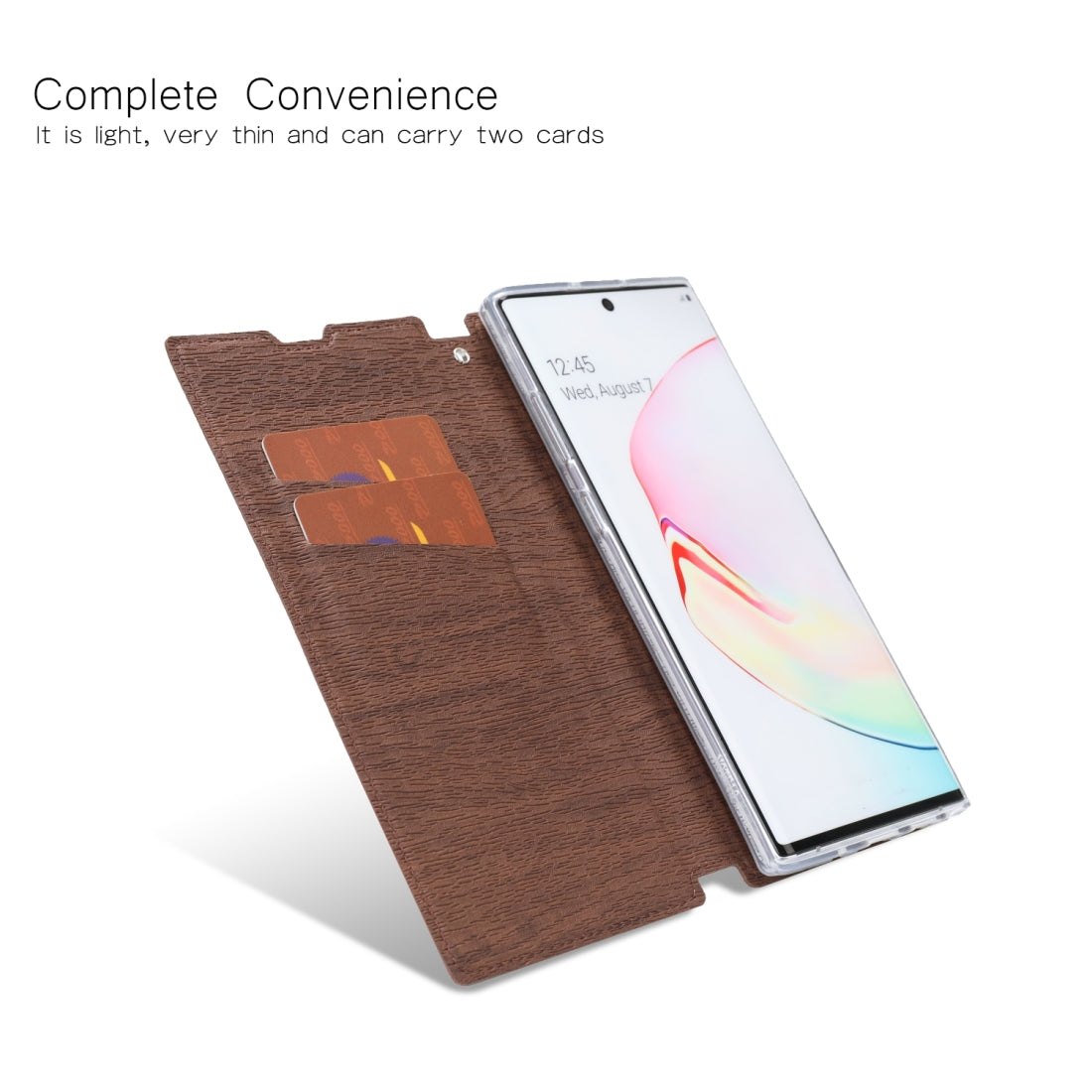 For Galaxy Note10 5G Ultra-thin Tree Texture Horizontal Flip TPU + PU Leather Case, with Card Slots & Holder & Lanyard(Brown)