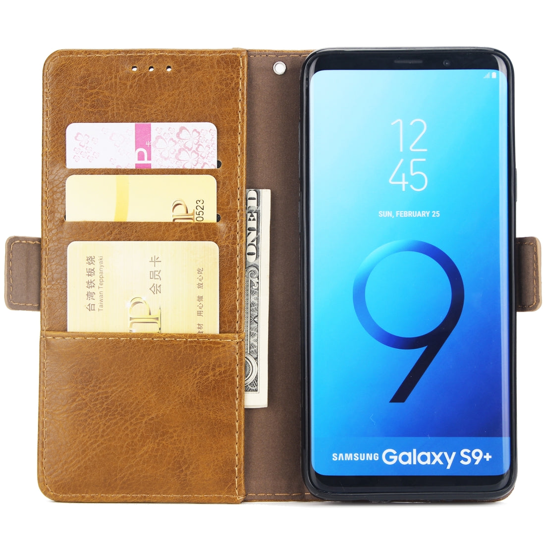 For Galaxy S9+ External Three Card Slots Leather Texture Horizontal Flip TPU + PU Case, with Card Slots & Holder & Wallet(Light Brown)