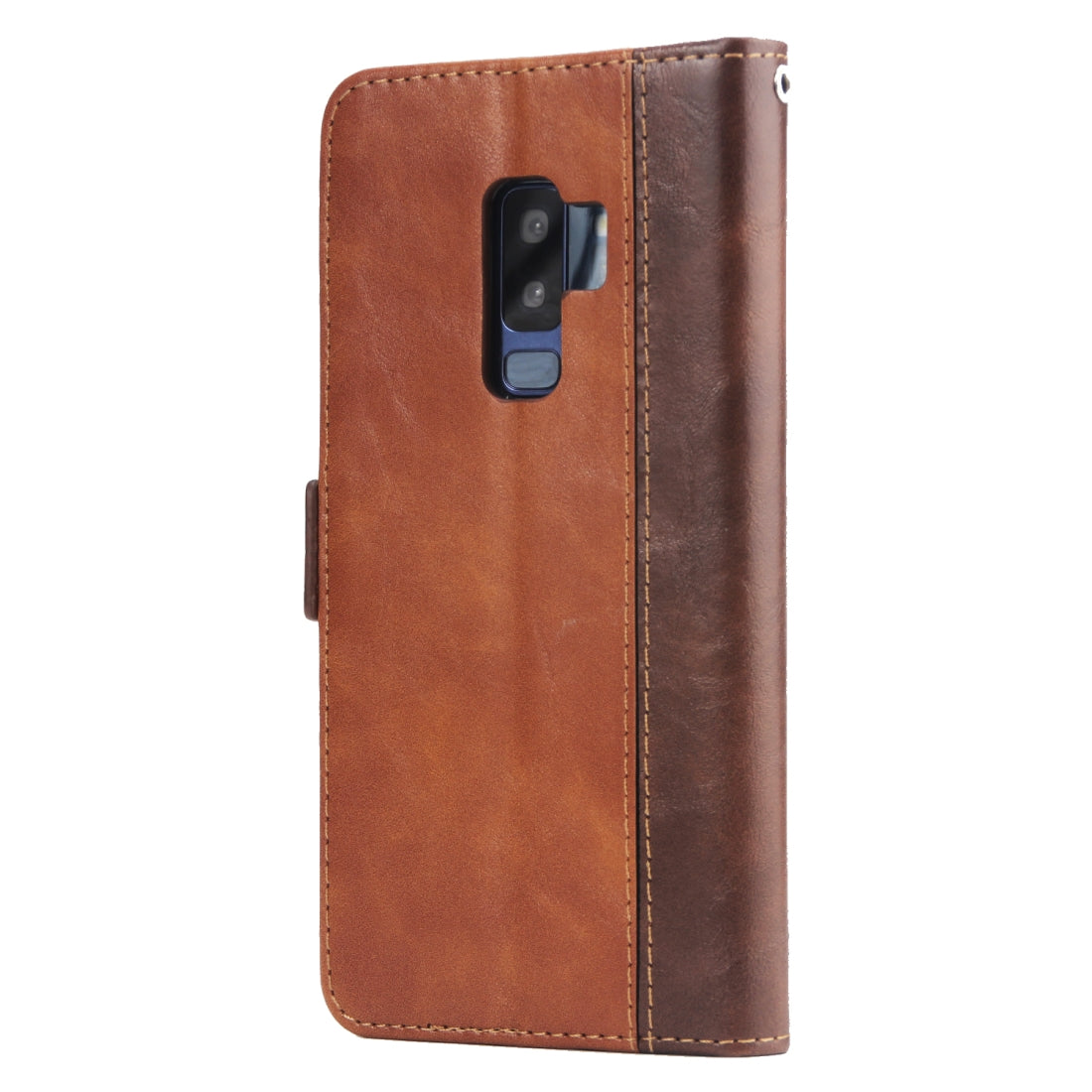For Galaxy S9+ Retro Texture Contrast Color Splicing Horizontal Flip TPU + PU Leather Case with Card Slots & Holder & Wallet(Brown)