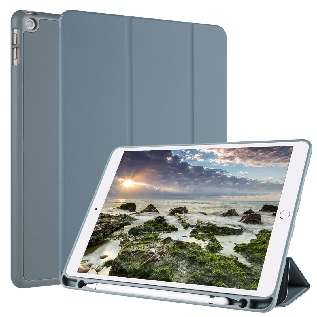 For iPad 10.2 Horizontal Flip Tablet PC PU Leather Case with Three-folding Holder & Pen Slot(Pine Needle Green)