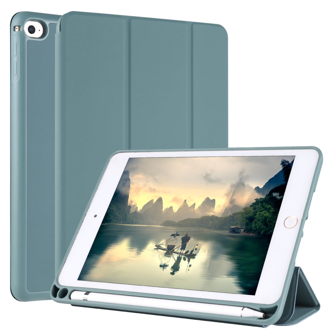 For iPad Mini 5 / 4 Horizontal Flip Tablet PC PU Leather Case with Three-folding Holder & Pen Slot(Pine Needle Green)