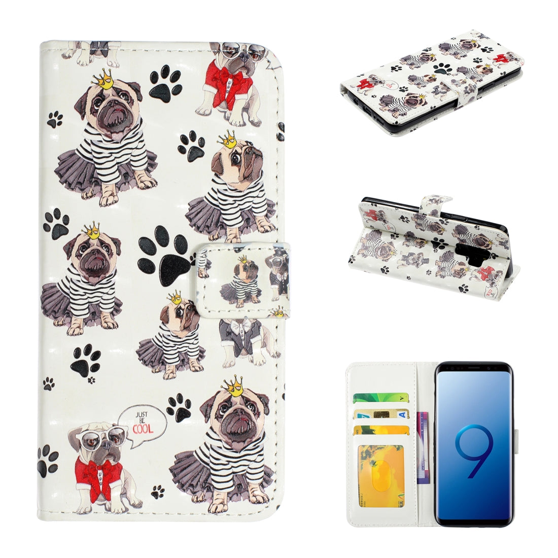 For Galaxy S9+ 3D Embossed Horizontal Flip Leather Case, with Holder & Card Slots & Wallet & Photo Frame(Crown Dog)