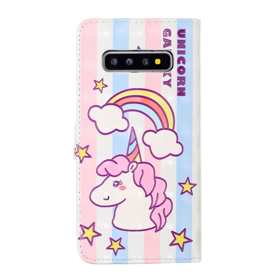 For Galaxy S10+ 3D Embossed Horizontal Flip Leather Case, with Holder & Card Slots & Wallet & Photo Frame(Striped Unicorn)