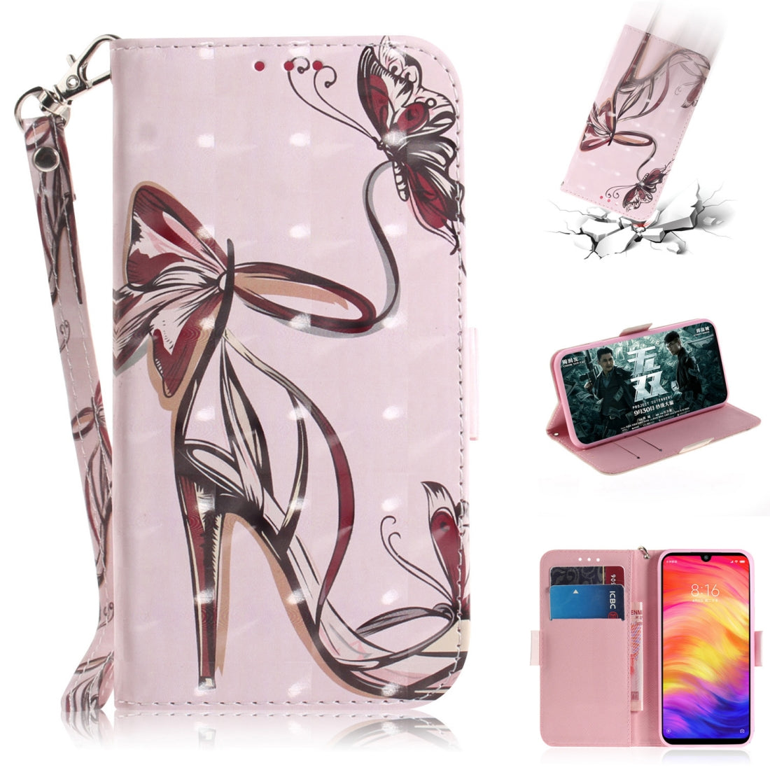 3D Coloured Drawing Horizontal Flip Leather Case with Holder & Card Slots & Wallet For Galaxy S10 Plus(Butterfly High Heels)