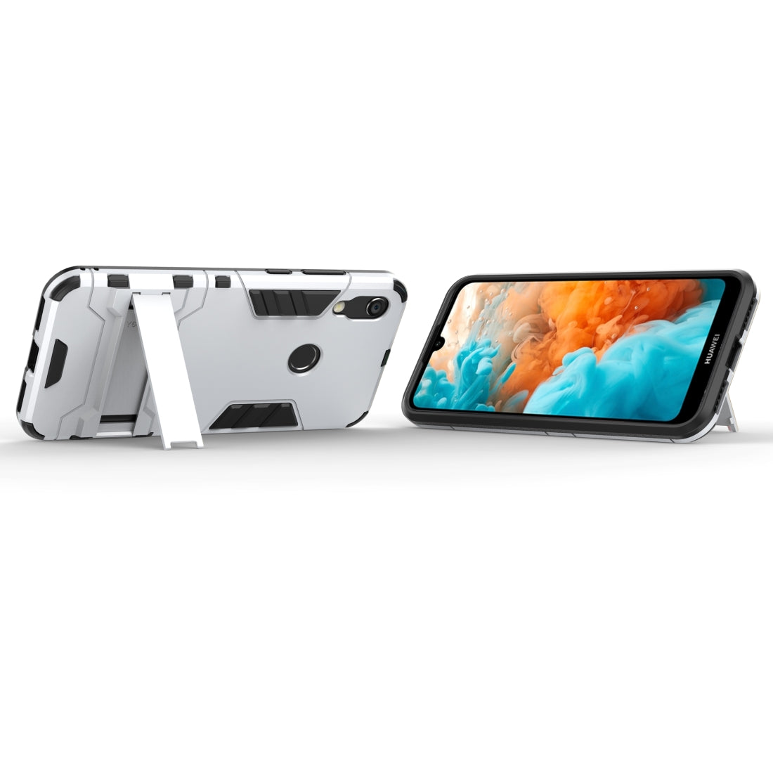 Shockproof PC + TPU Case for Huawei Y6 (2019), with Holder (Silver)
