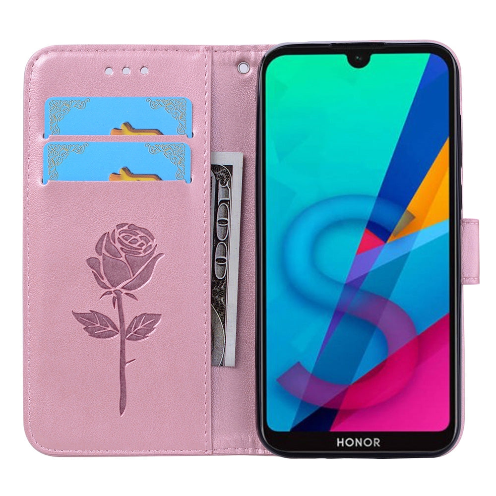 Rose Embossed Horizontal Flip PU Leather Case for Huawei Honor 8S / Y5 (2019), with Holder & Card Slots & Wallet (Rose Gold)