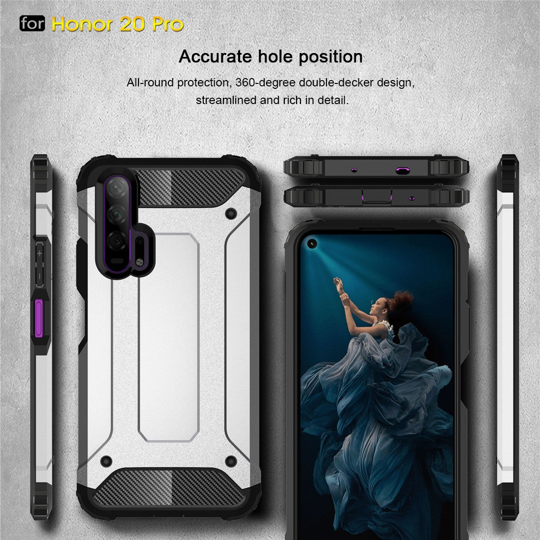 Magic Armor TPU + PC Combination Case for Huawei Honor 20 Pro(Black)