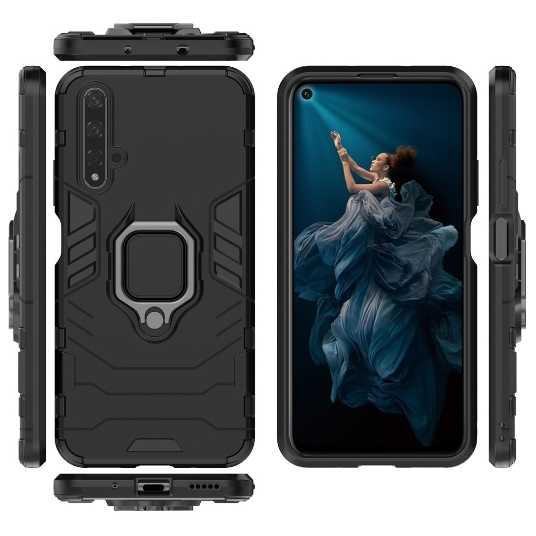 PC + TPU Shockproof Protective Case for Huawei Honor 20, with Magnetic Ring Holder (Black)