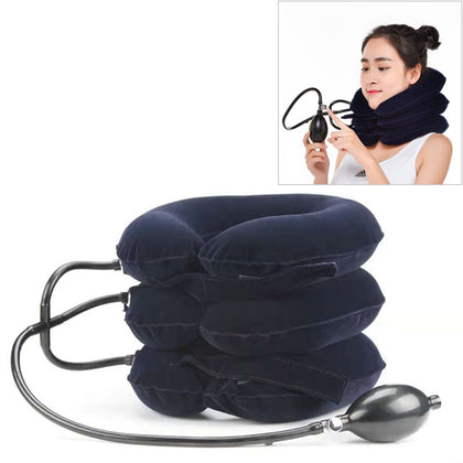 Household Full Cashmere Cervical Traction Instrument Neck Protection Inflatable Cervical Spine Massage Instrument (Black)