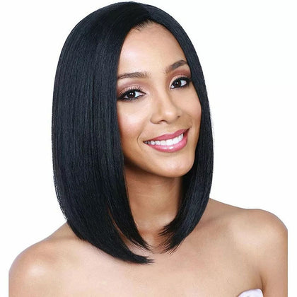 Centre-parted Fluffy Shoulder-length Straight Hair Wig Headgear for Women (Black)