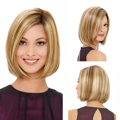 Bob Haircut Wig Headgear for Women (Linen Gold)