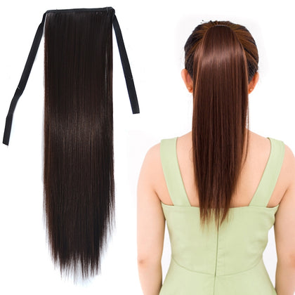 Natural Long Straight Hair Ponytail Bandage-style Wig Ponytail for Women?Length: 45cm (Black Brown)