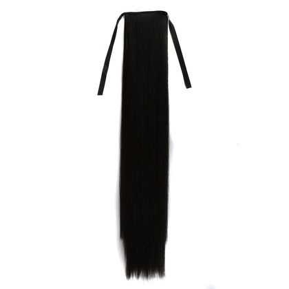 Natural Long Straight Hair Ponytail Bandage-style Wig Ponytail for Women?Length: 75cm(Black)