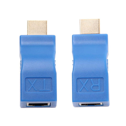 HDMI to RJ45 Extender Adapter (Receiver & Transmitter) by Cat-5e/6 Cable, Transmission Distance: 30m(Blue)