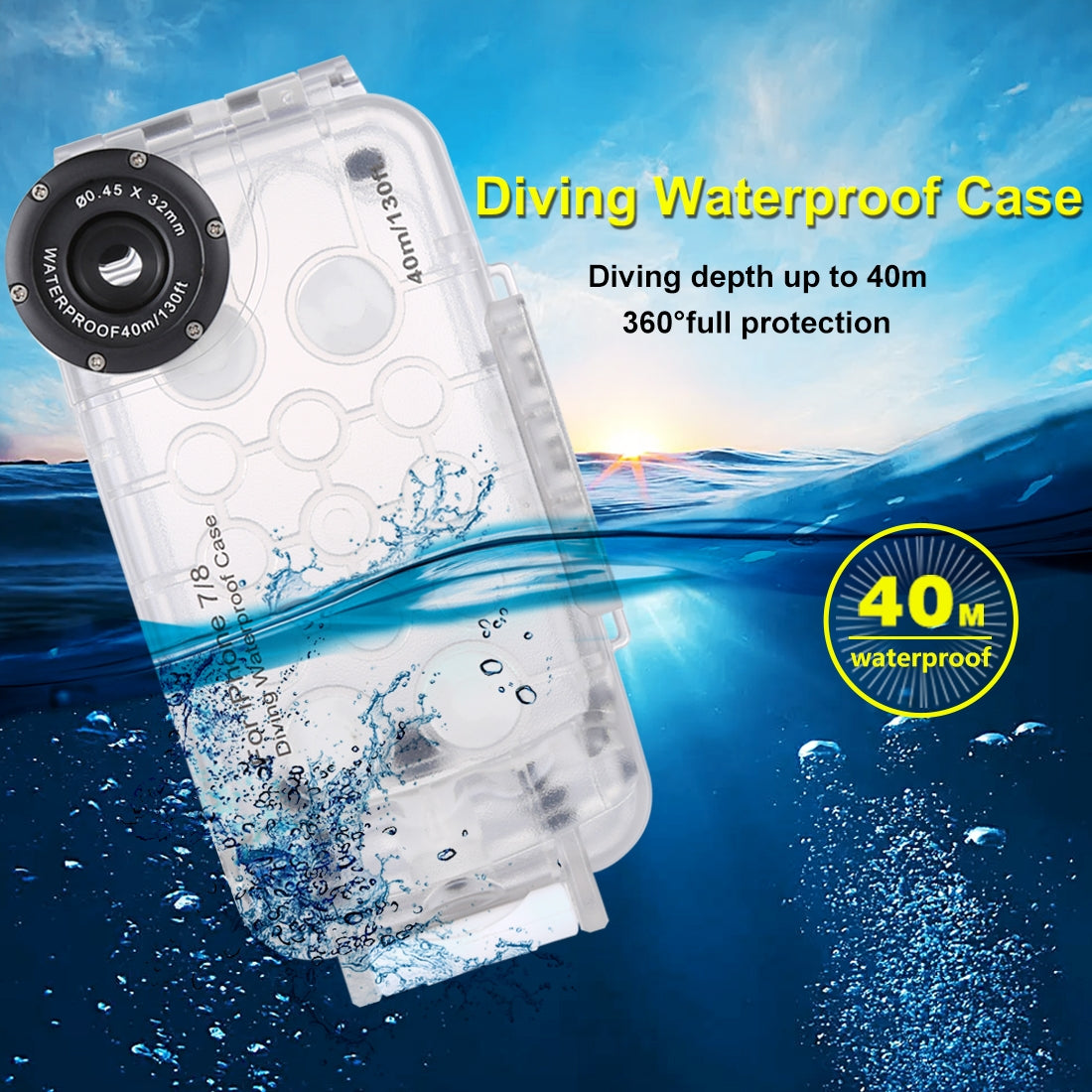 HAWEEL 40m/130ft Waterproof Diving Housing Photo Video Taking Underwater Cover Case for iPhone 7 & 8(Transparent)