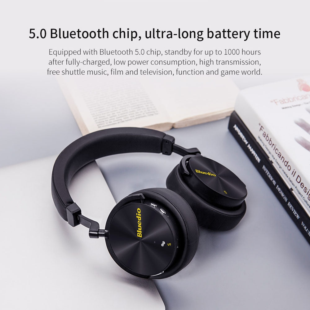Bluedio T5S Bluetooth Version 5.0 Headset Bluetooth Headset Supports Headset Auto Play(Yellow)