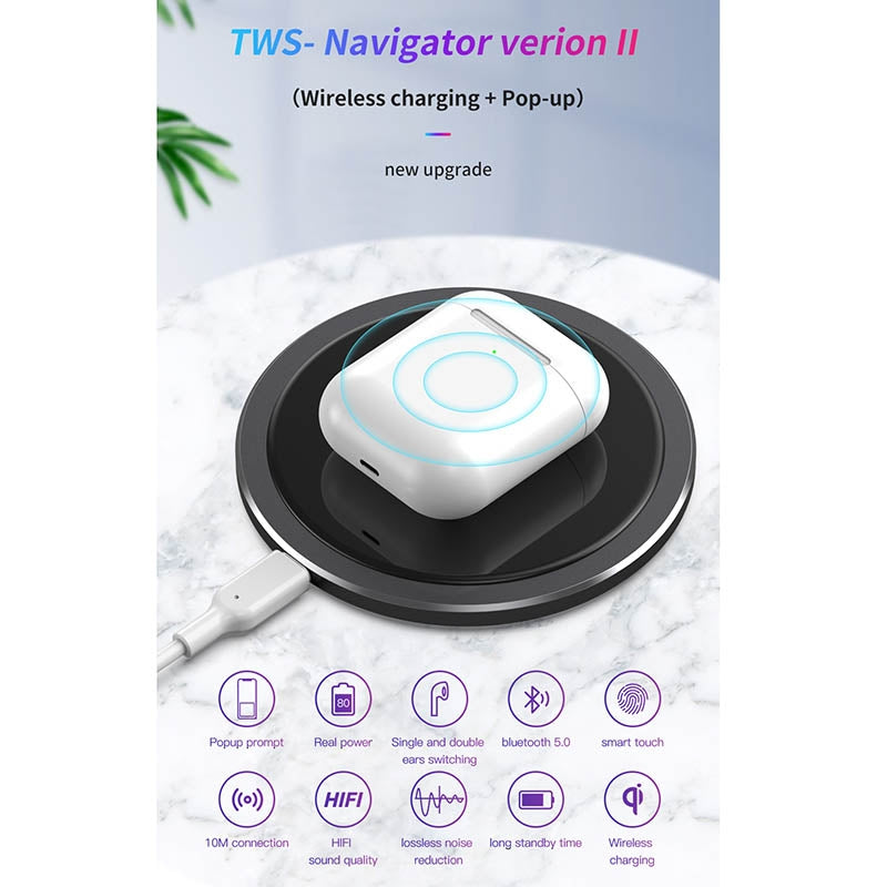 TOTUDESIGN EAUB-024 Glory Series II TWS IPX4 Waterproof Bluetooth 5.0 Wireless Bluetooth Earphone with Charging Box & Hook, Navigator Version (Wreless Charging + Pop-up)