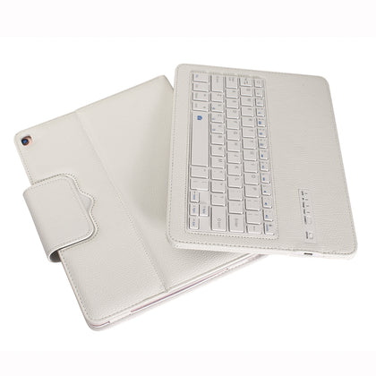 IP09 For iPad 10.2 inch Litchi Texture Detachable ABS Bluetooth Keyboard Leather Case with Stand Function (White)