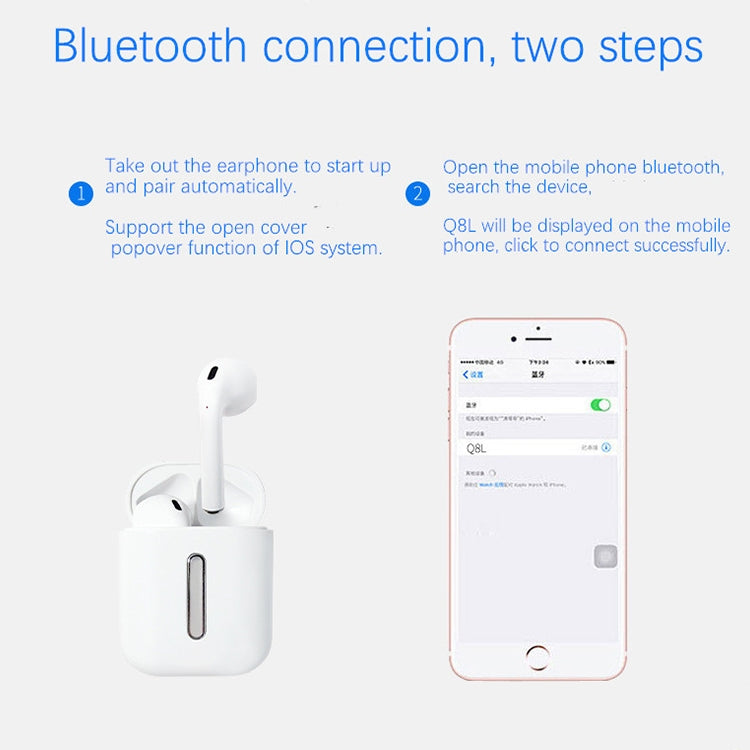 Q8L TWS Bluetooth 5.0 Touch Wireless Bluetooth Earphone with Magnetic Adsorption Charging Case, Supports Power Display & HD Calling(White)