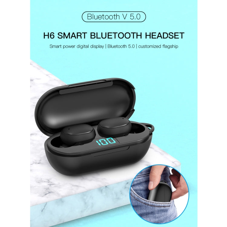 H6 TWS Bluetooth 5.0 Wireless Bluetooth Earphone with Digital Display & Charging Box, Support for Siri & HD Calls