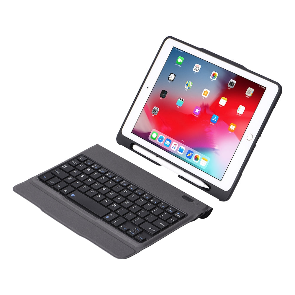 T-203D For iPad 2017 & 2018 / Pro 9.7 / Air 2 / Air Detachable Ultra-thin Bluetooth Keyboard Protective Case with Holder & Pen Slot, Backlight Version (Black)