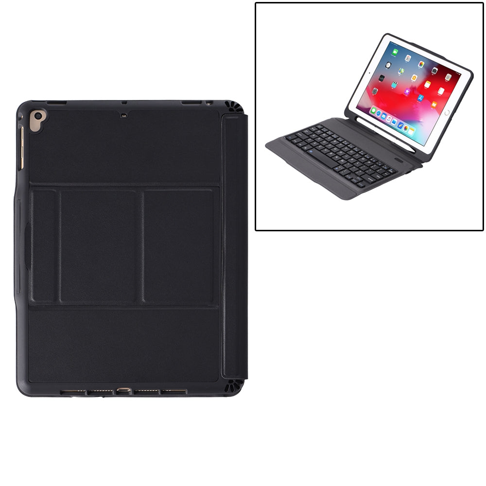 T-205 For iPad 2017 & 2018 / Pro 9.7 / Air 2 / Air Detachable Ultra-thin Bluetooth Keyboard Protective Case with Holder & Pen Slot & Touch Panel (Black)