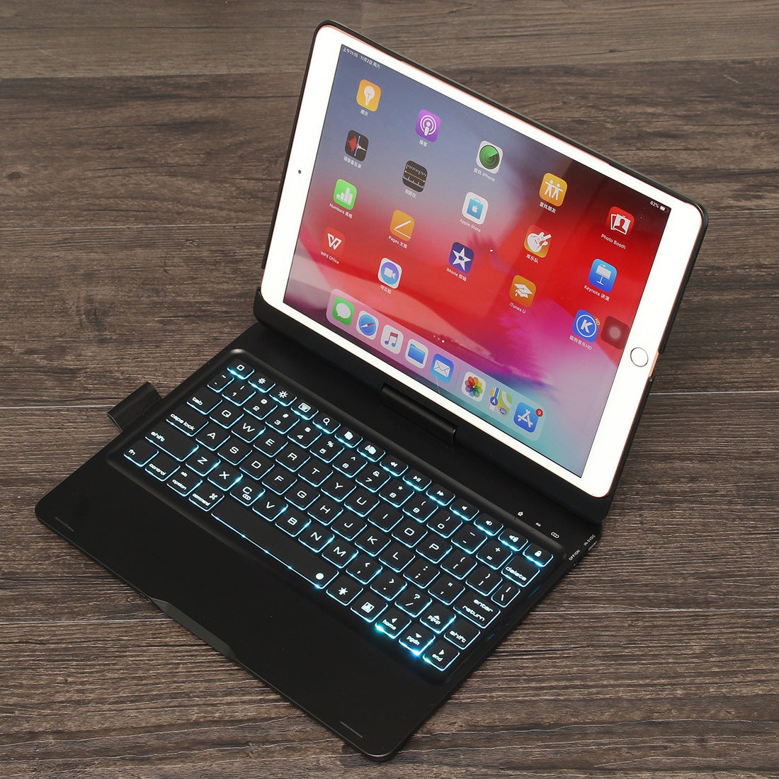 F102AS For iPad 10.2 inch Colorful Backlit Rotatable Bluetooth Keyboard  Leather Case with Pen Slot Function(Black)