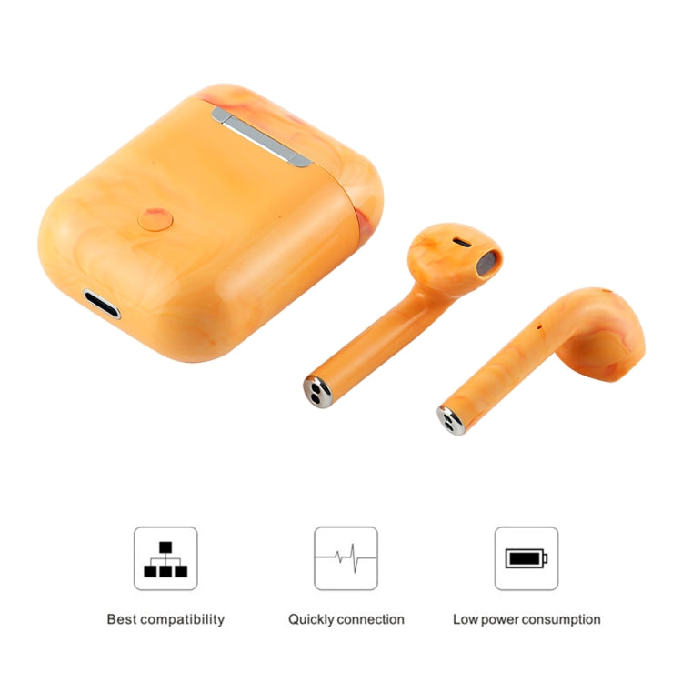 InPods 12 TWS Bluetooth 5.0 Marble Pattern Wireless Bluetooth Earphone with Magnetic Attraction Charging Box, Support Touch & Bilateral Call(Yellow)