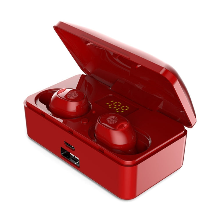G10 TWS Bluetooth 5.0 Wireless Bluetooth Earphone with Charging Box, Support Digital Display & HD Call & Power Bank(Red)