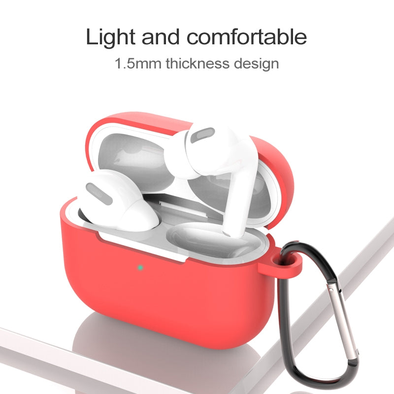 For AirPods Pro 3 Silicone Wireless Earphone Protective Case Cover with Lanyard Hole & Carabiner(Apricot)
