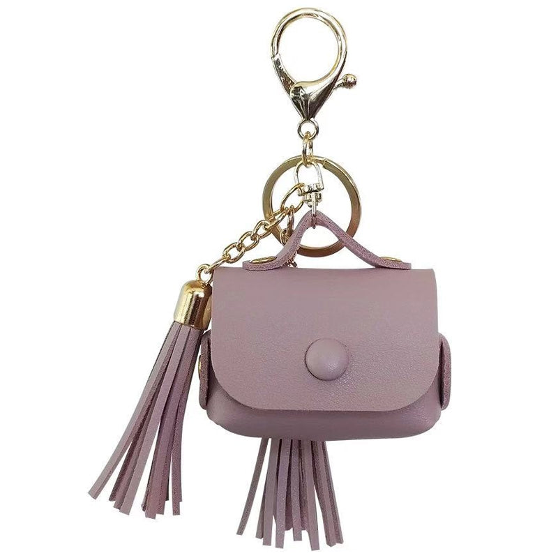 Leather Tassels Earphones Shockproof Protective Case for Apple AirPods 1/2(Purple)