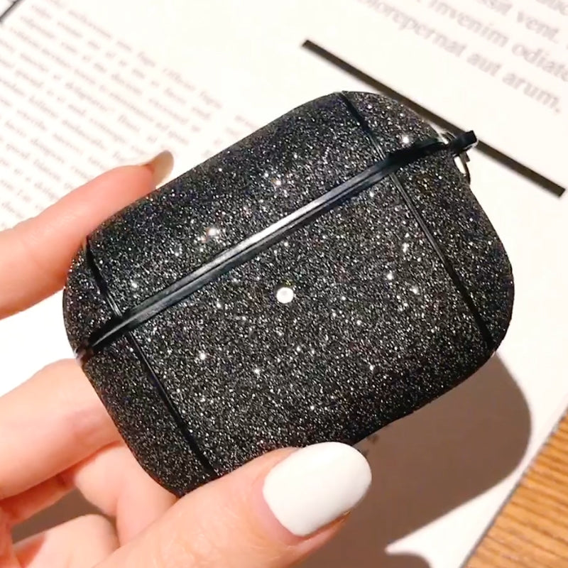 For Apple AirPods Pro Glitter Grid Earphone Protective Case (Black)