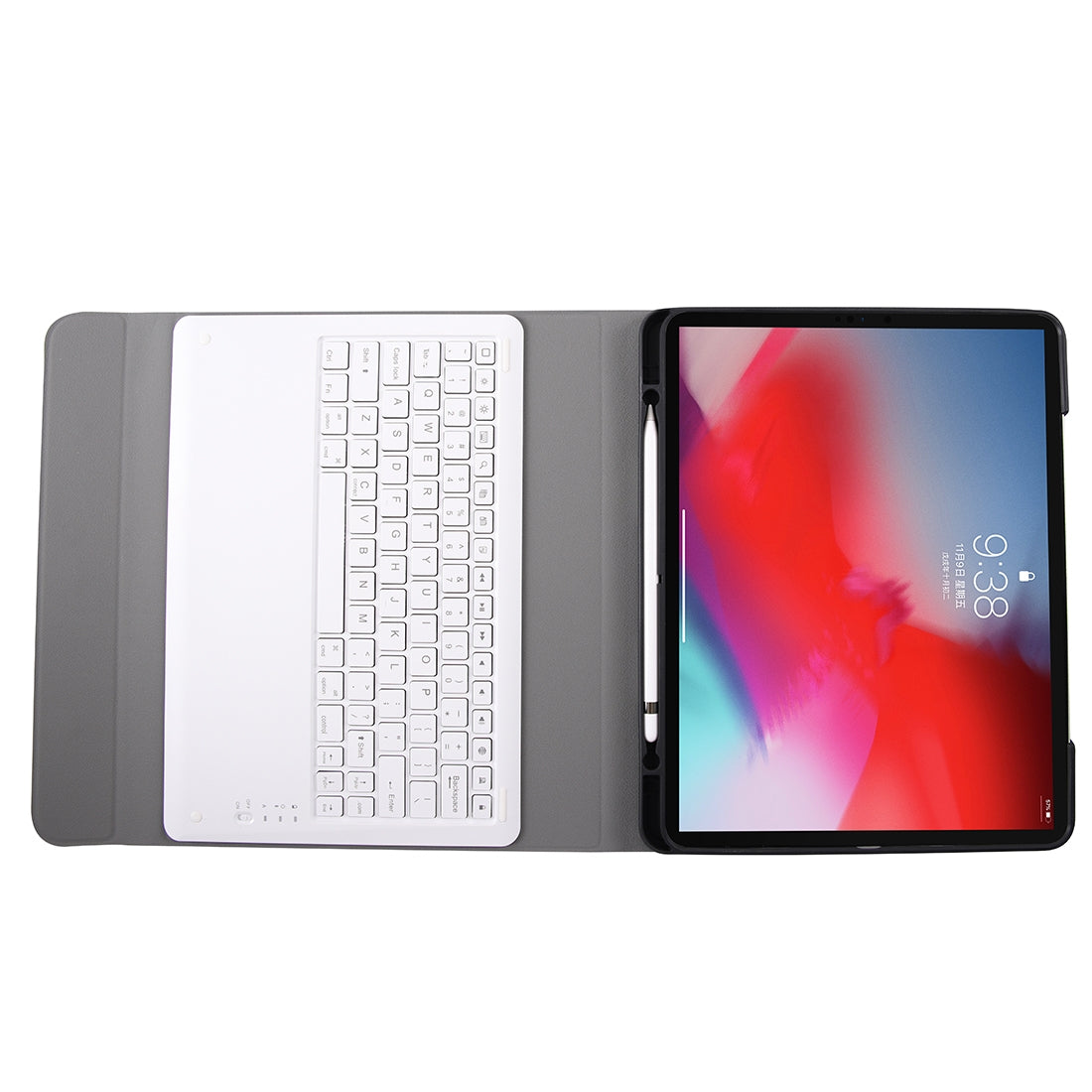 A12B Bluetooth 3.0 Ultra-thin Detachable Bluetooth Keyboard Leather Case for iPad Pro 12.9 inch ?2018?, with Pen Slot & Holder (Rose Gold)