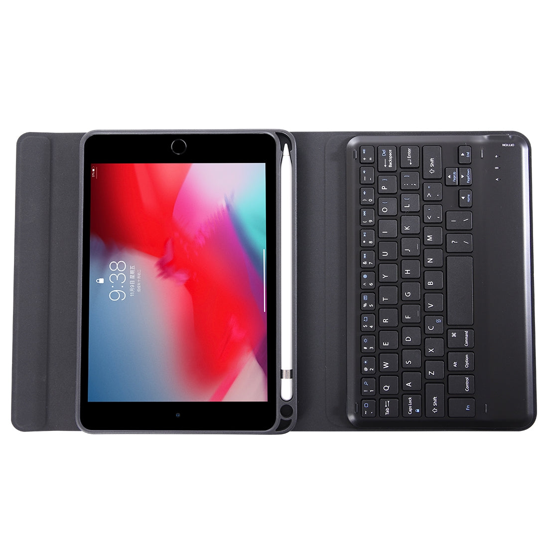 K04B Bluetooth 3.0 Ultra-thin One-piece Bluetooth Keyboard Leather Case for iPad mini 5, with Pen Slot & Holder (Black)