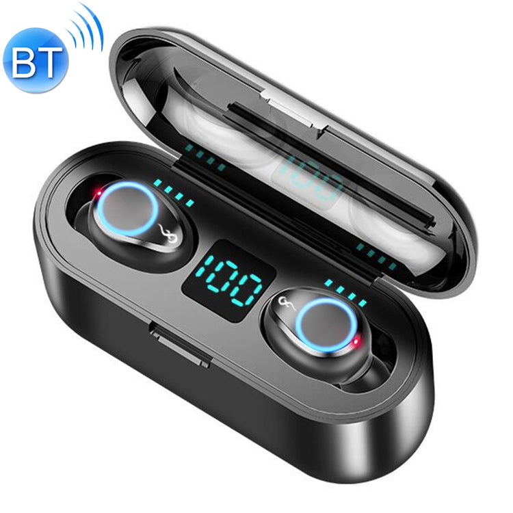 F9 TWS V5.0 Touch Control Binaural Wireless Bluetooth Headset with Breathing Light and Digital Display