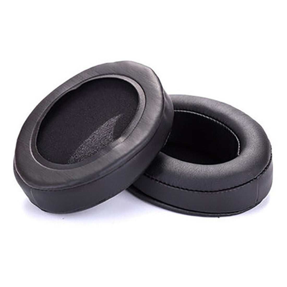 1 Pair Oval Leather Beveled Headphone Protective Case for Brainwavz HM5 / Philip SHP9500(Black)